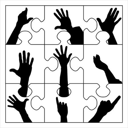 resign: puzzle resign hands Illustration