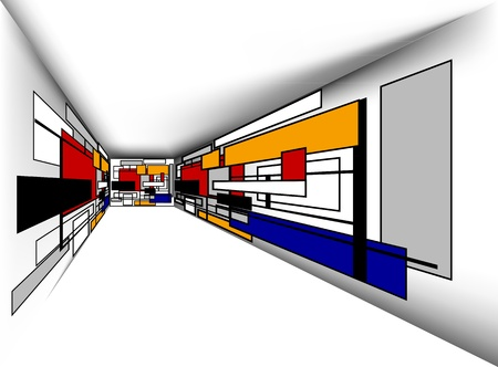 colorful perspective  room, vector
