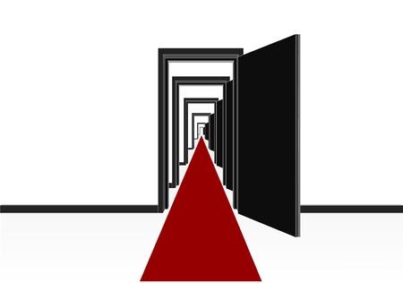 door casing: red carpet