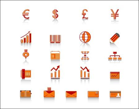 yen note: colorful finance and office icon set