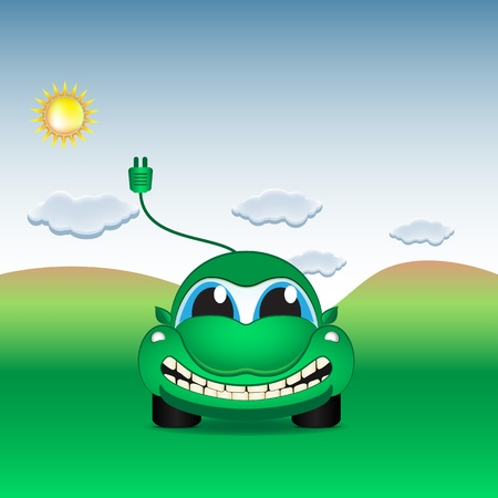 electro world: Character - eco electrical car on the field Illustration