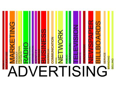 media distribution: Advertising word concept in barcode with supporting words