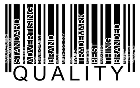 Quality word concept in bar-code with supporting words Vector