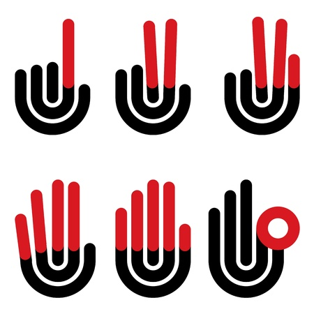 duo: hand gestures counting symbols from 1 to 5