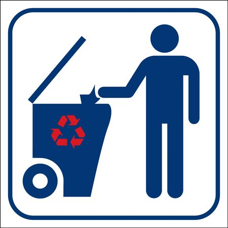 wastepaper basket: Recycling symbol Illustration