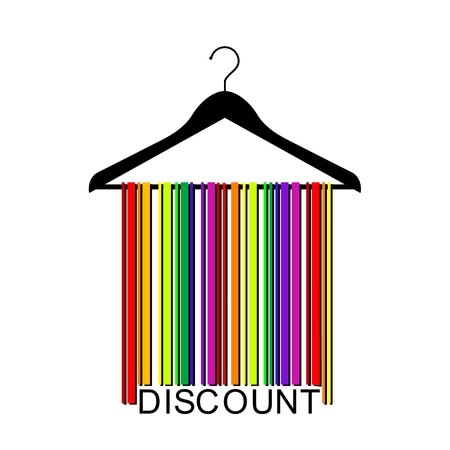 colorful DISCOUNT barcode clothes hanger Stock Vector - 21003132