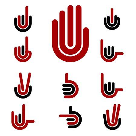 Hand Gestures and signals -set of icons for your design Ilustração Vetorial