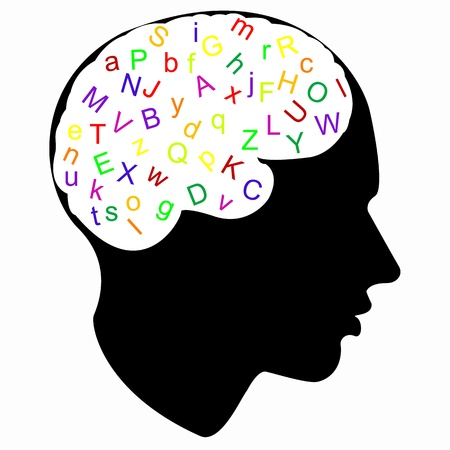 colorful letter in brain Vector