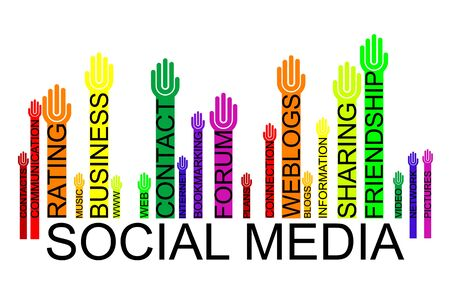 bookmarking: SOCIAL MEDIA text bar-code with hands Illustration