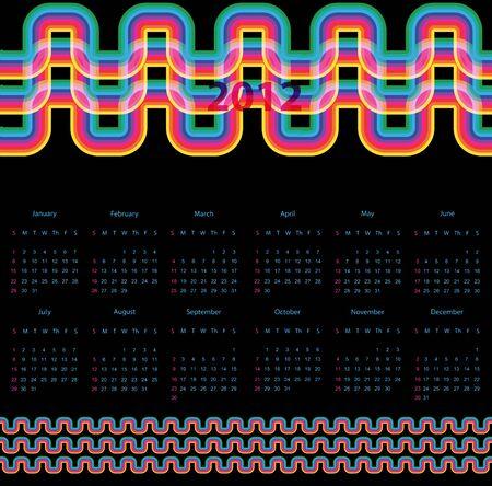 calendar design: Colorful 2012 calendar design Illustration