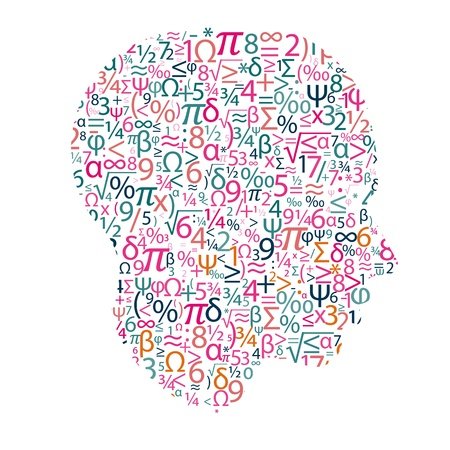 arithmetic: head with numbers Illustration