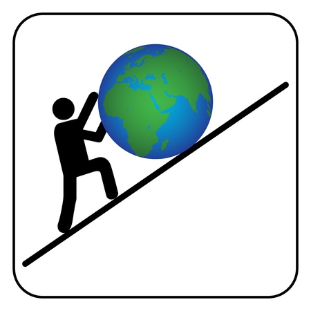 Man pushing the earth Stock Vector - 21003310