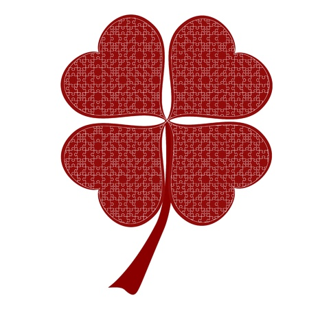 lucky red heart Clover, isolated on white background, clipping path included Stock Vector - 21003339