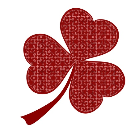 lucky red heart Clover, isolated on white background, clipping path included Vector