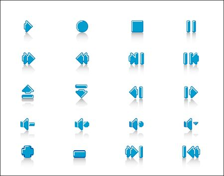 2 0: colorful Media control web 2 0 buttons navigation panel  icon set