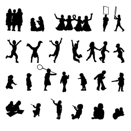 set van spelende kinderen silhouetten Stock Illustratie