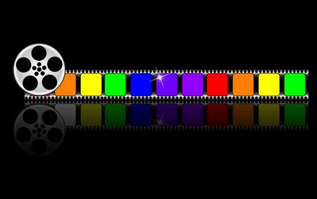 rainbow slide: colorful filmstrip