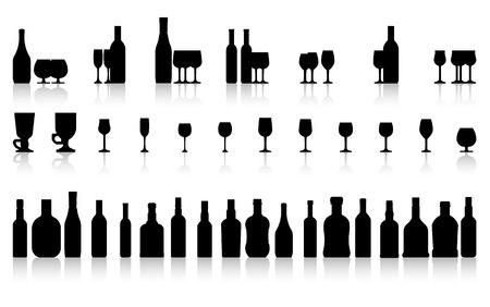 burgundy drink glass: glass and bottle set