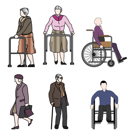 old people and disabled persons  Ilustrace