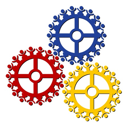 unison: peoples gears turn in unison, symbolizing teamwork and synergy