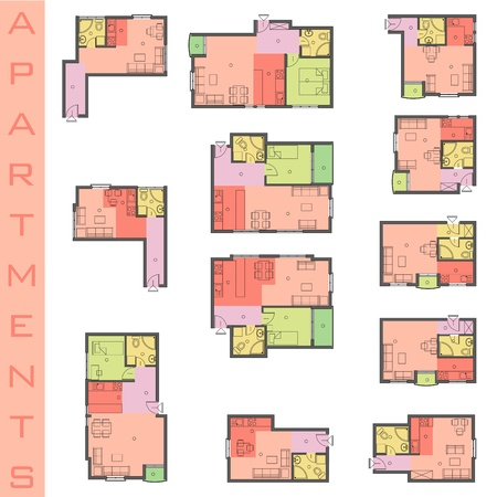 Residential Forms the floor plans.  Vector