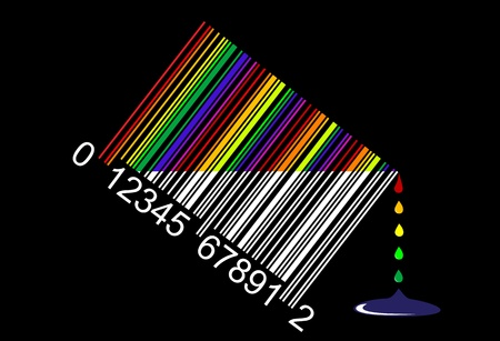 colorful liquid bar code, perfect for sale