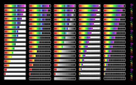 loaded: colorful different loader progress bar Illustration