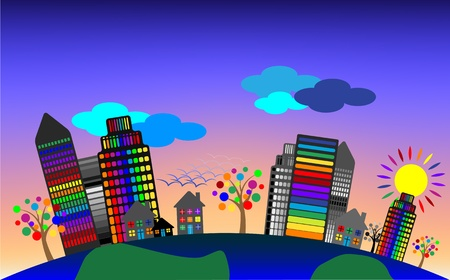 Sunset, earth globe with city scape - environmental concept Vector