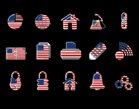 colorful USA Web Site & Internet icon set Vector
