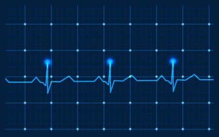 hospital background: Heart and ecg from red ribbon
