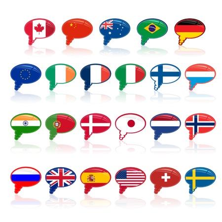 subtitle: set of  languige bubble with flags