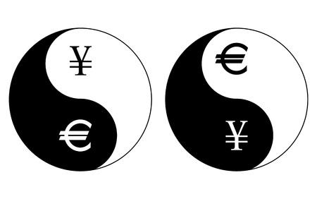 good karma: Yin-Yang currency symbols, yen- euro