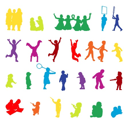 jumping kids: set of children playing silhouettes