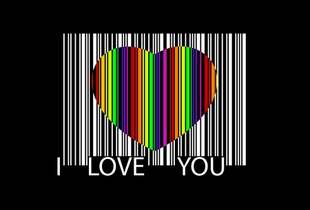 true love: colorful heart bar code, perfect for sale Illustration