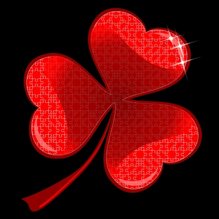 red lucky clover Vector