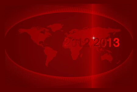 2012-2013 The Years Passing  New Year on the world globe Vector