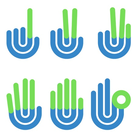 numbering: hand gestures counting symbols from 1 to 5
