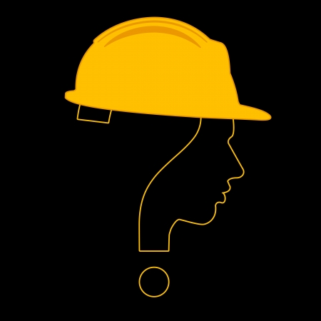 under construction with question mark human head symbol Vector