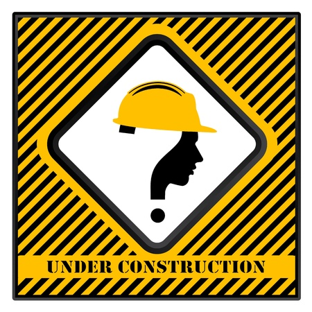 under construction sign with man: under construction with question mark human head symbol