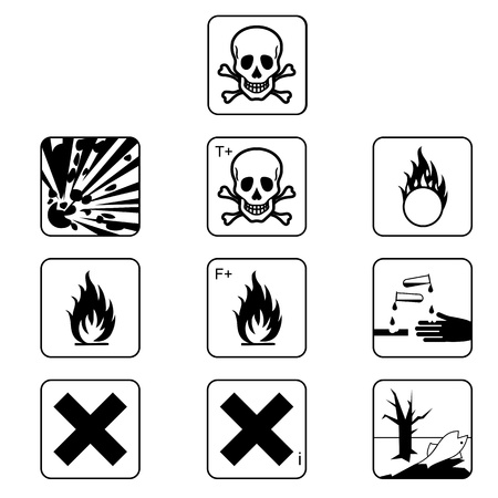 Set of chemicals hazard symbols Stock Photo - 21723987