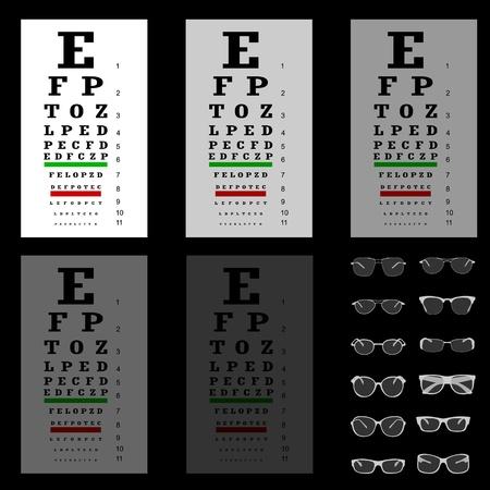 sight chart: eye test chart with glasses