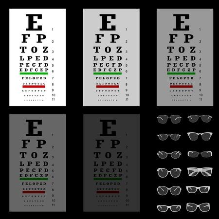 eye chart: eye test chart with glasses