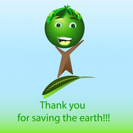 Cartoon happy tree - Save the earth photo