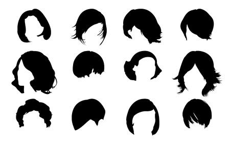 hair setting: Hair fashion set Stock Photo