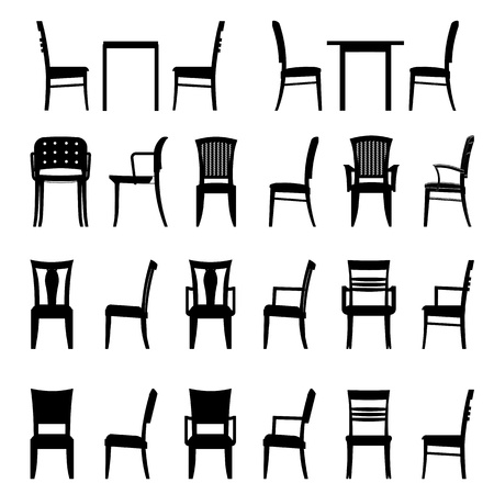 wood carving: Set of modern chair Stock Photo
