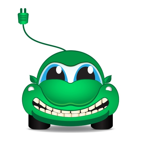 electro world: Character - eco electrical car, vector