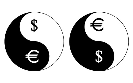 yinyang: Yin-Yang currency symbols, dollar- euro, vector Illustration