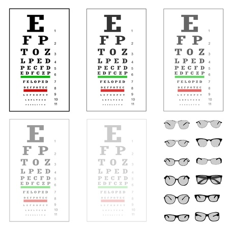 eye glass frame: eye test chart with glasses, vector