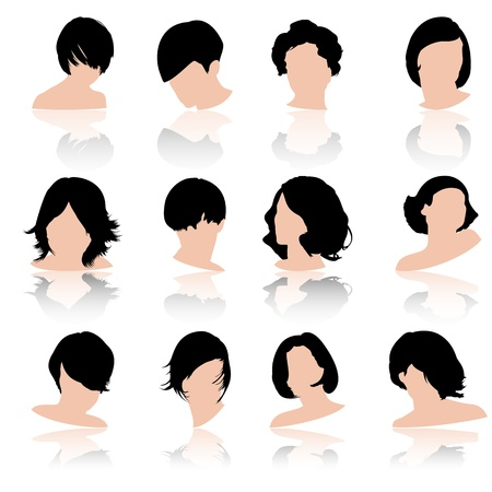 comb out: Hair fashion set, vector