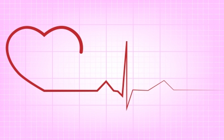 Heart and ecg from red ribbon Vector